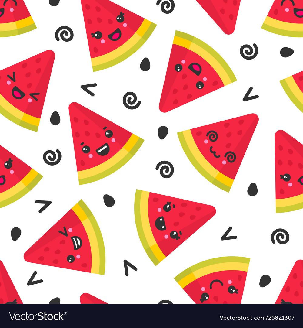 Cute smiling watermelon seamless pattern
