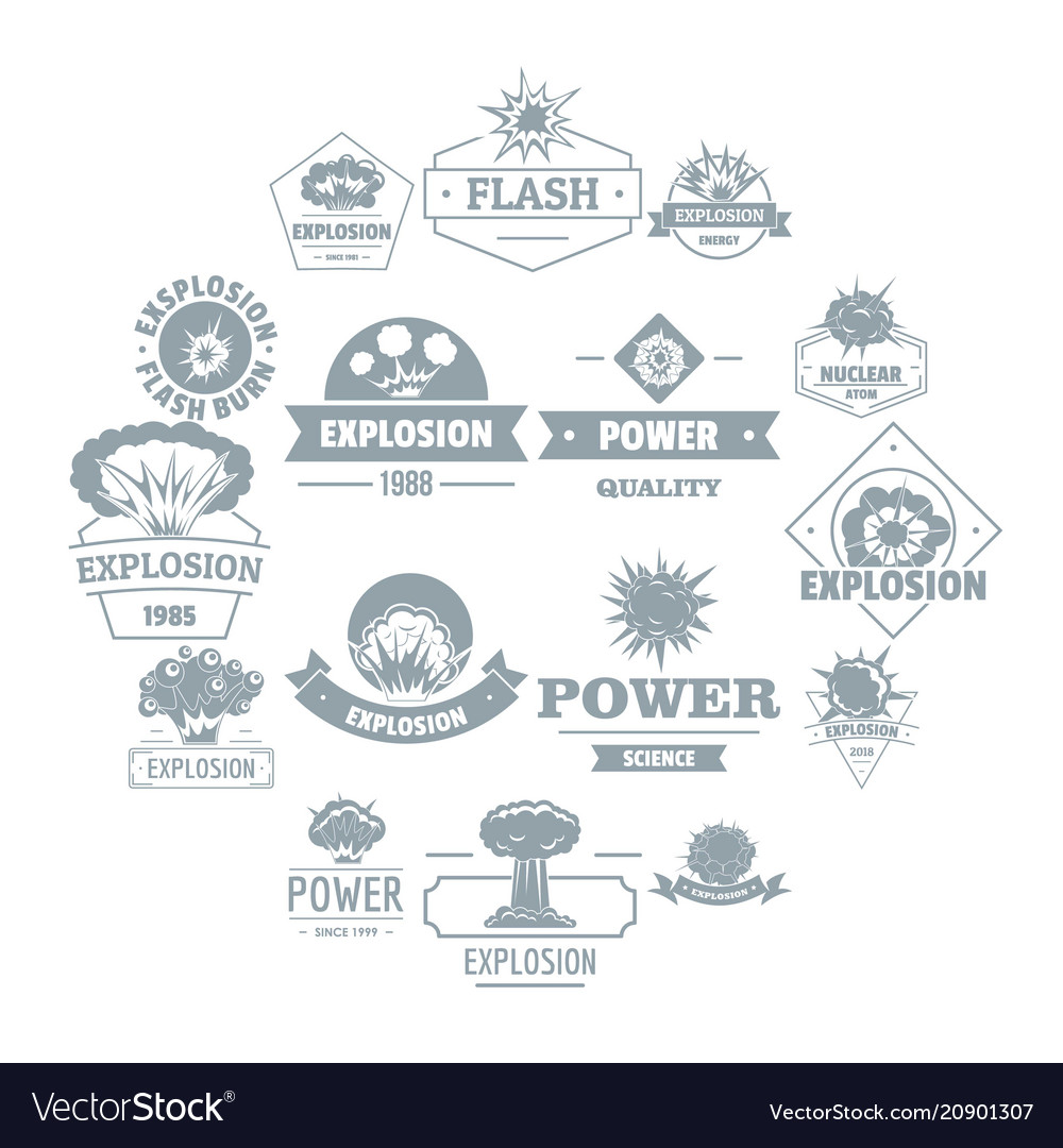 Explosion power logo icons set simple style