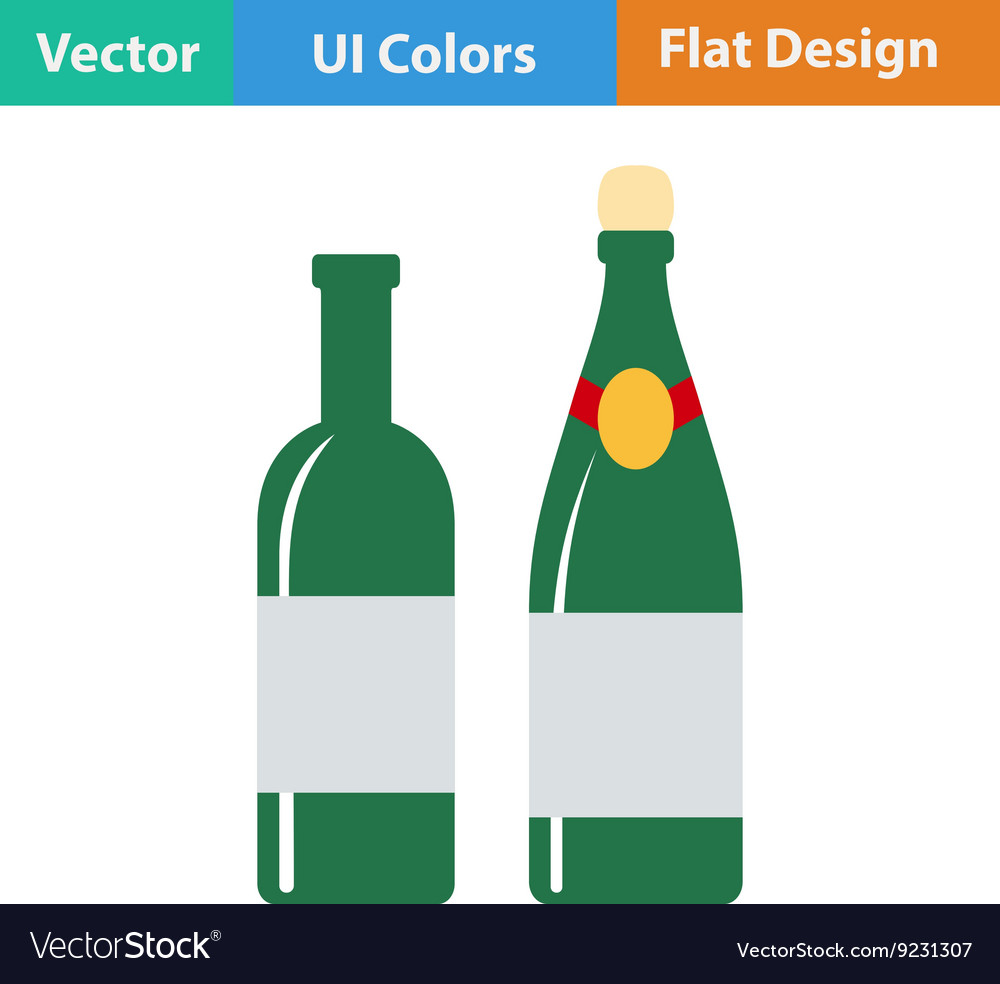 Flat design icon of Wine and champagne bottles