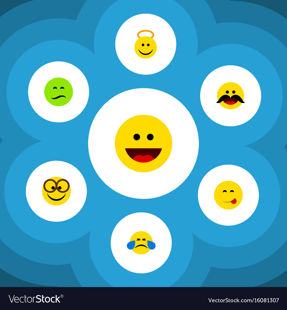 Flat icon expression set of cheerful frown vector image