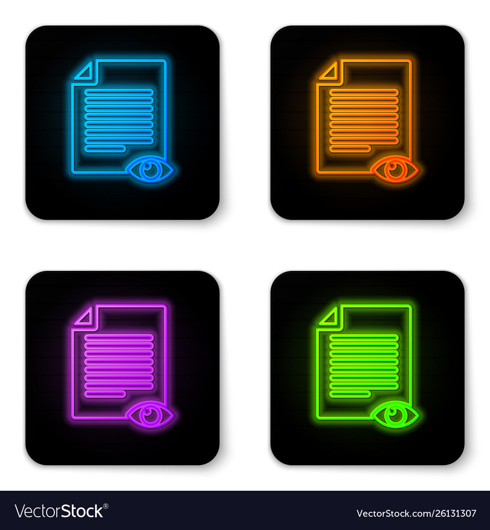 Glowing neon paper page with eye symbol icon