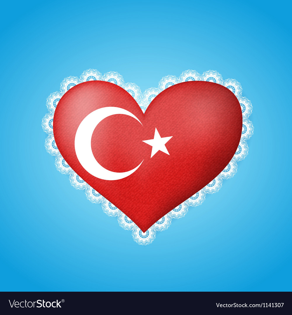 Heart shape flag of Turkey vector image