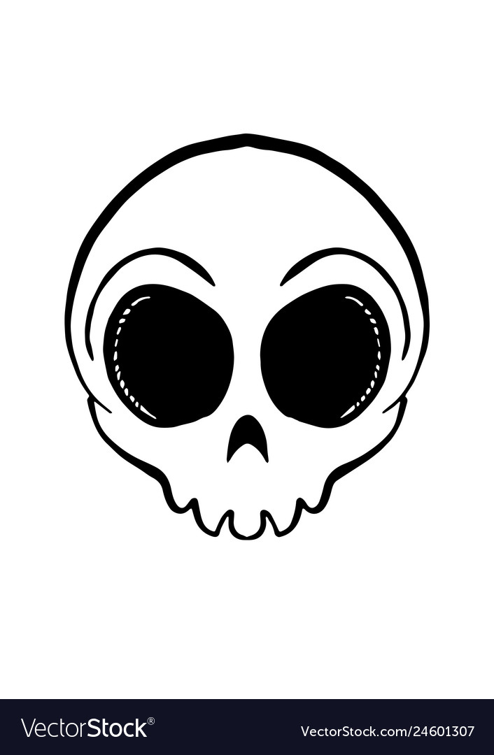 Iconic round skull in black and white