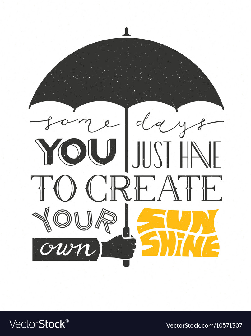 Poster with hand holding umbrella and text