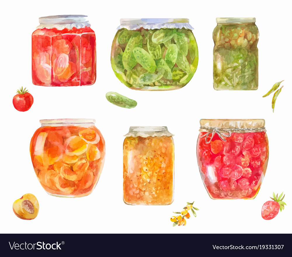 Set of canned tomatos cucumbers berries
