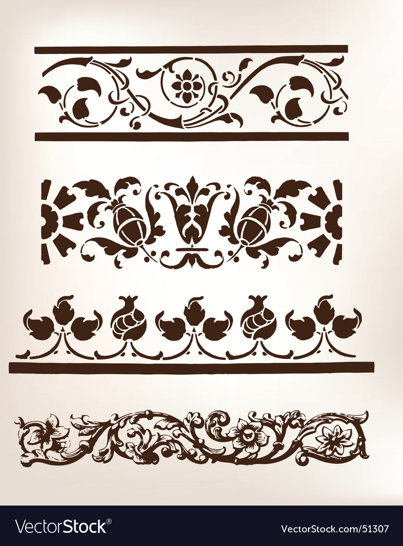 set of vintage design boarders royalty free vector image