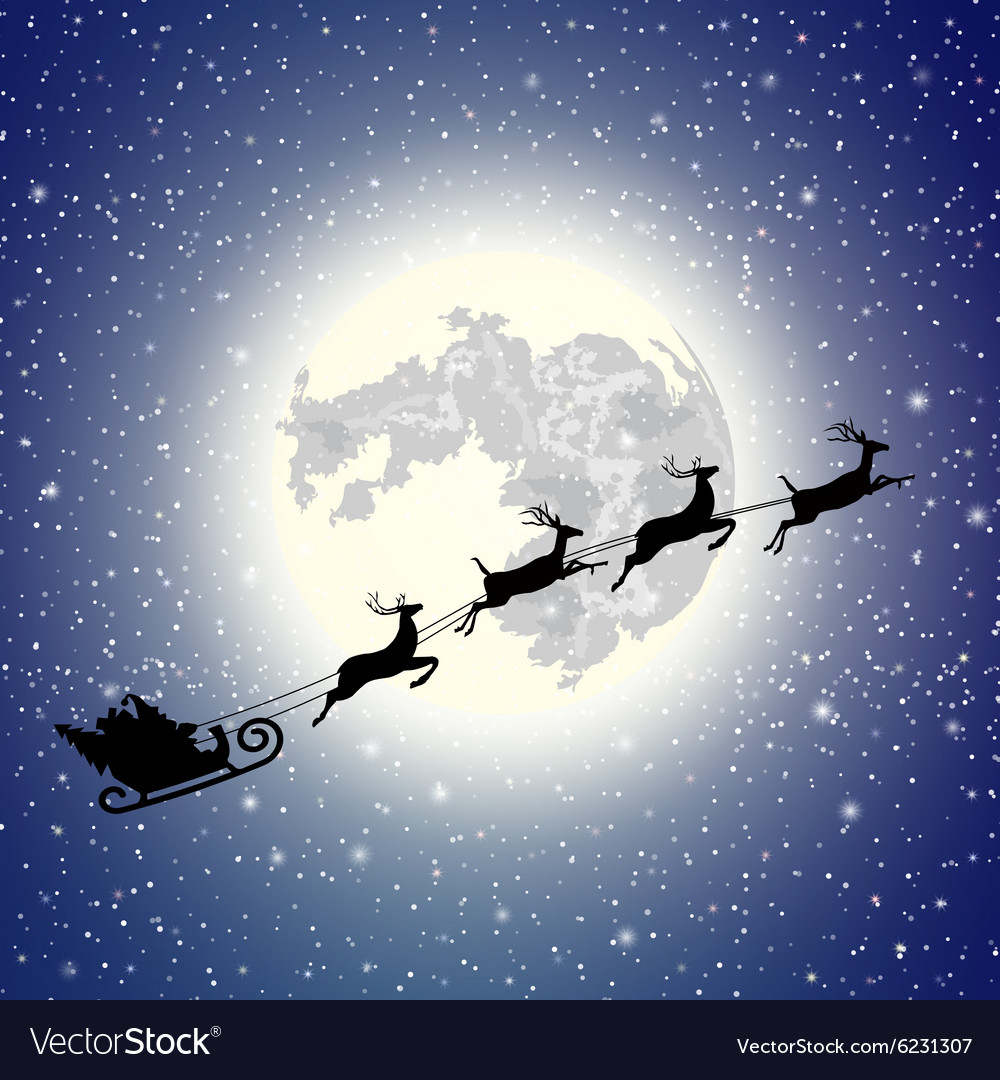 Silhouette Santa Claus sleigh