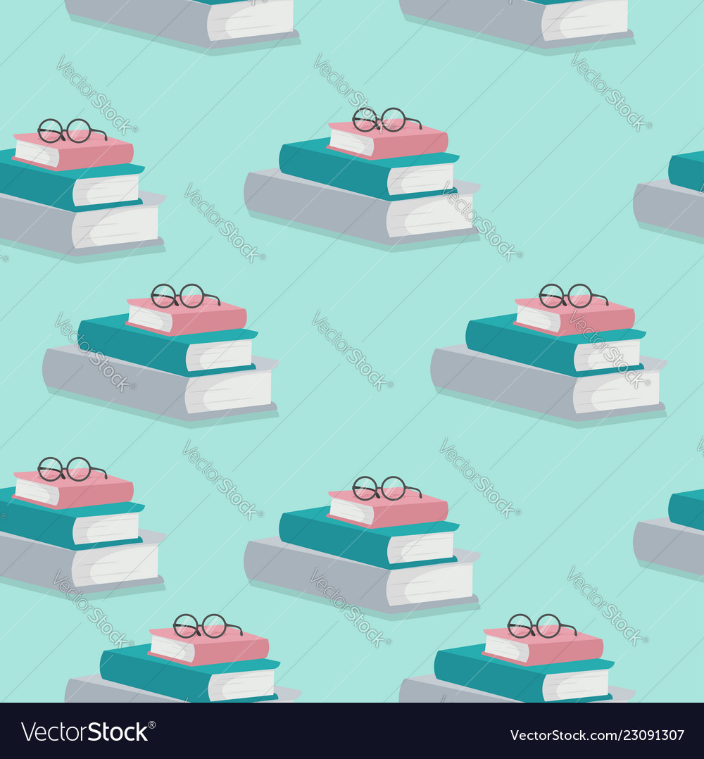 Stack books with glasses pattern