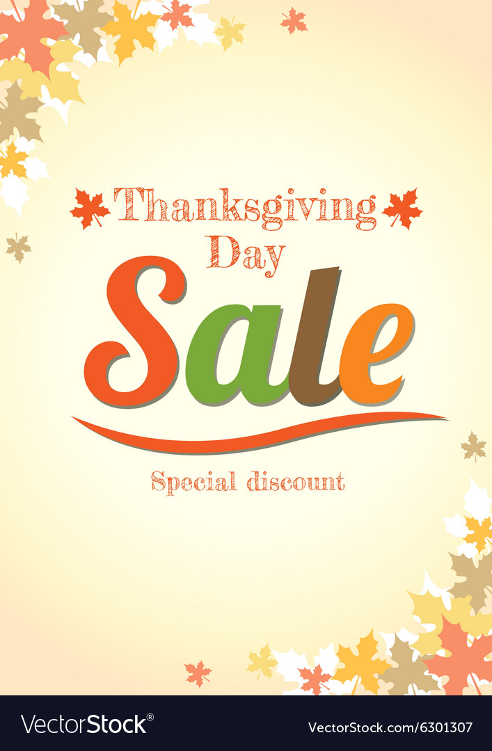 Thanksgiving Day Sale Poster Royalty Free Vector Image