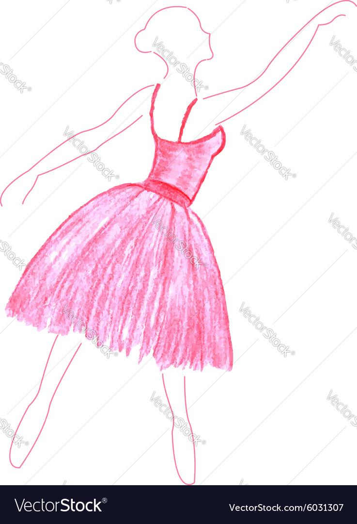 Watercolor dancing girl vector image