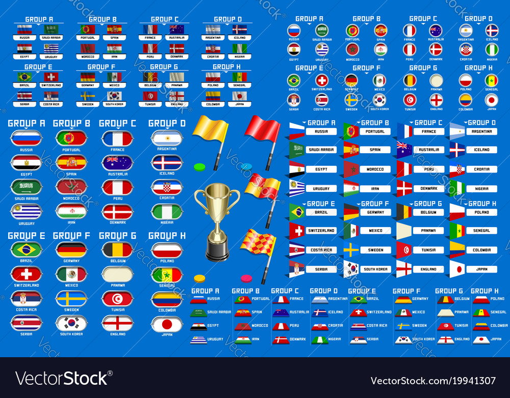 World Cup Championship Groups Schedule Vector Image