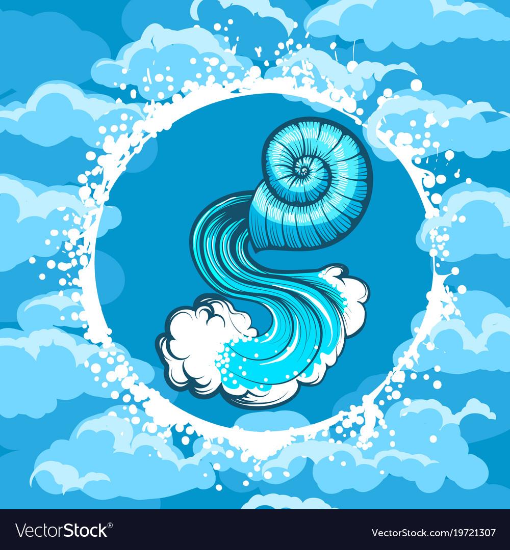 Zodiac sign of aquarius in air circle