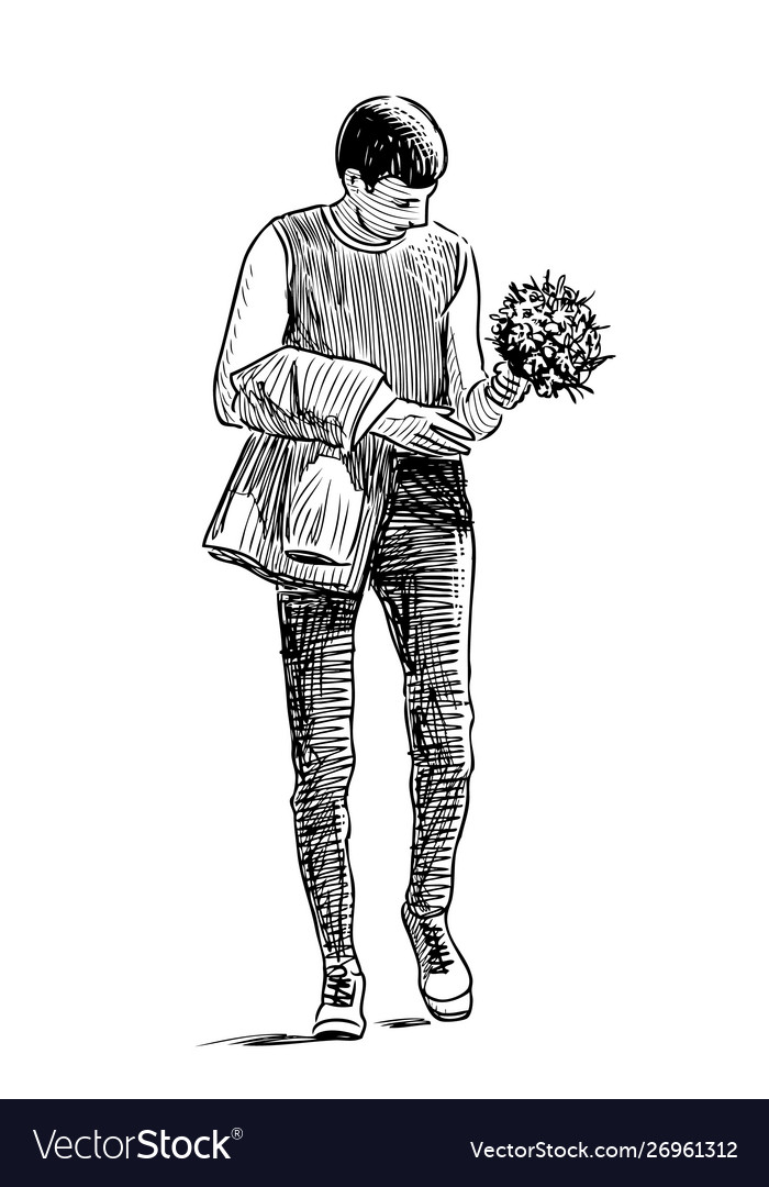 A young man with a bouquet goes on a date