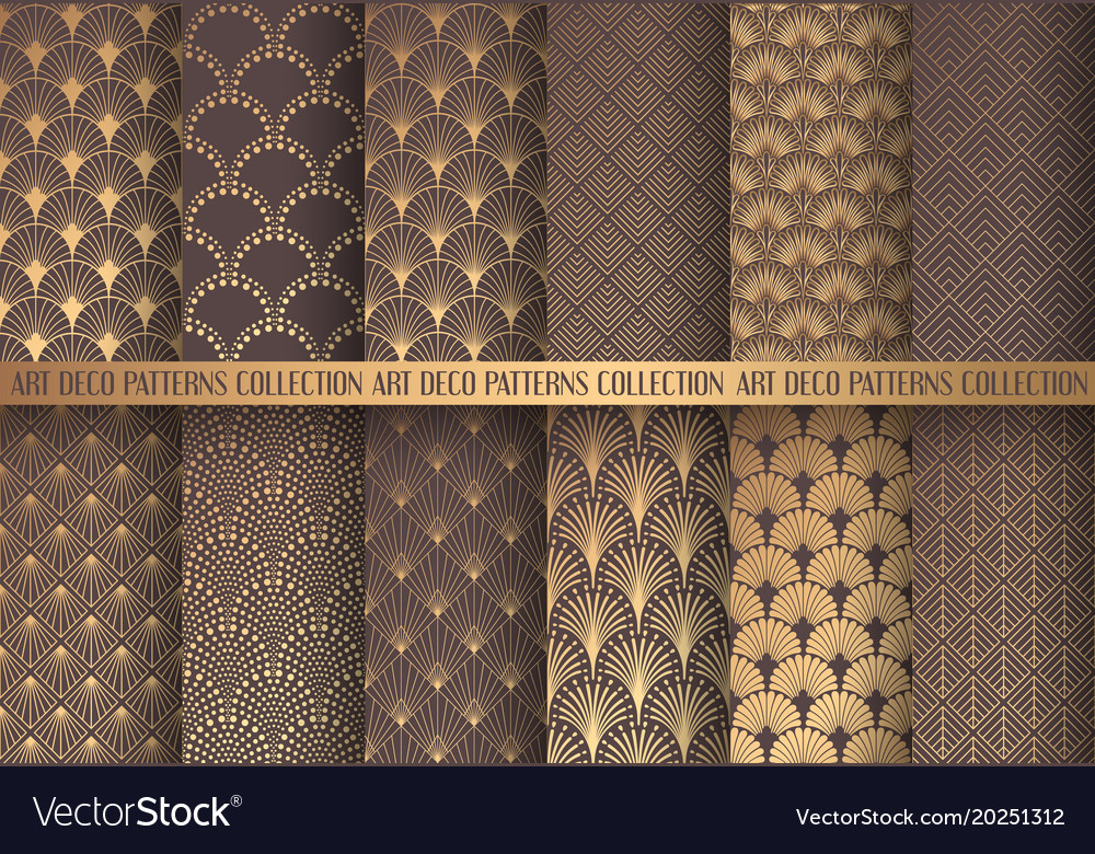 Art deco patterns set Royalty Free Vector Image