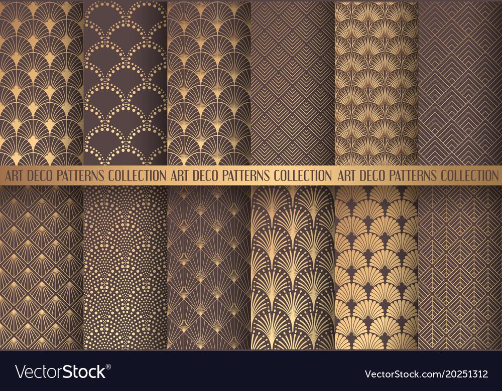art deco patterns set royalty free vector image rh vectorstock com gold art deco pattern vector art deco pattern vector free download