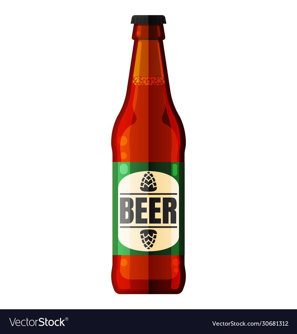 Beer bottle icon alcohol drink white
