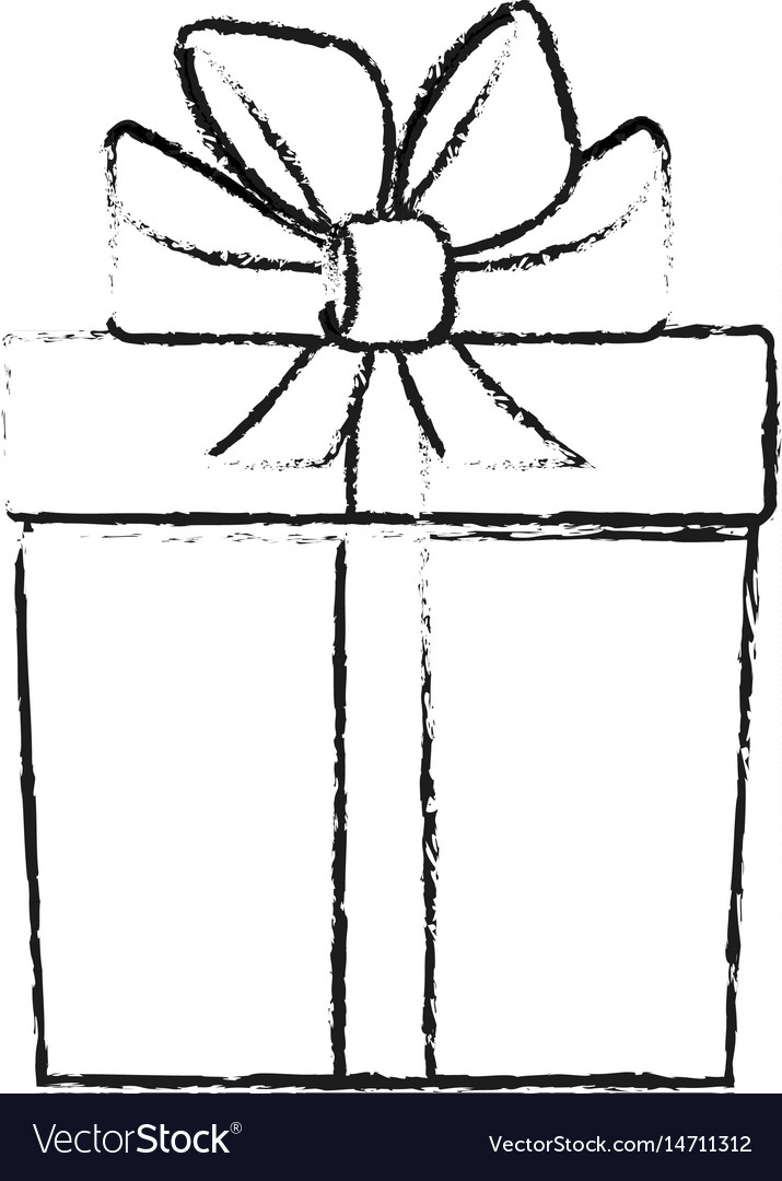 Blurred silhouette cartoon giftbox with wrapping