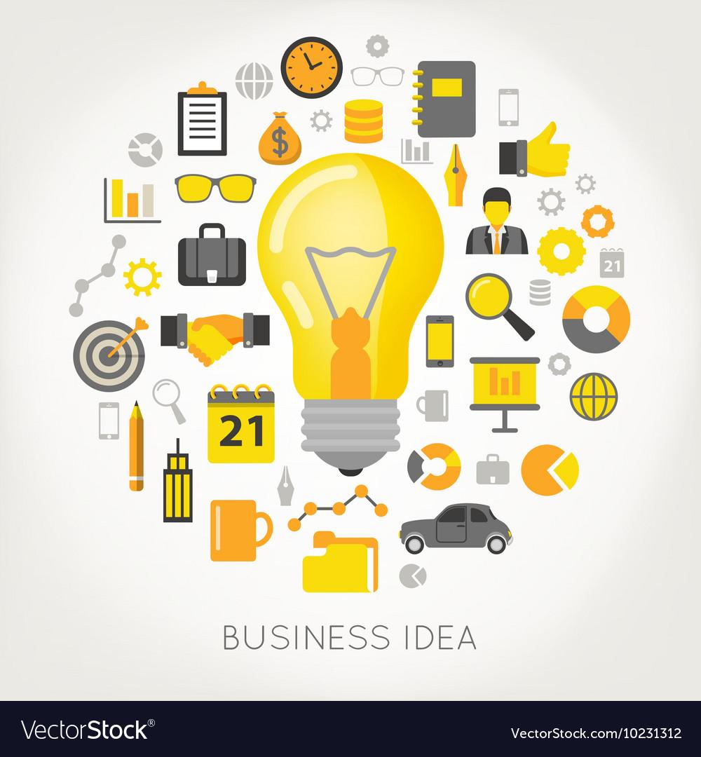 Business idea light bulb and creative icons