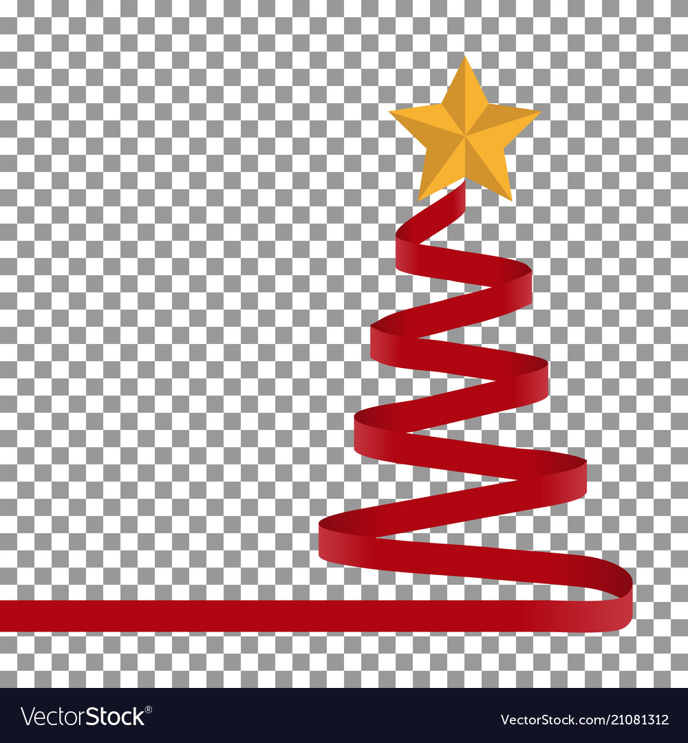 Christmas tree of red ribbon and star