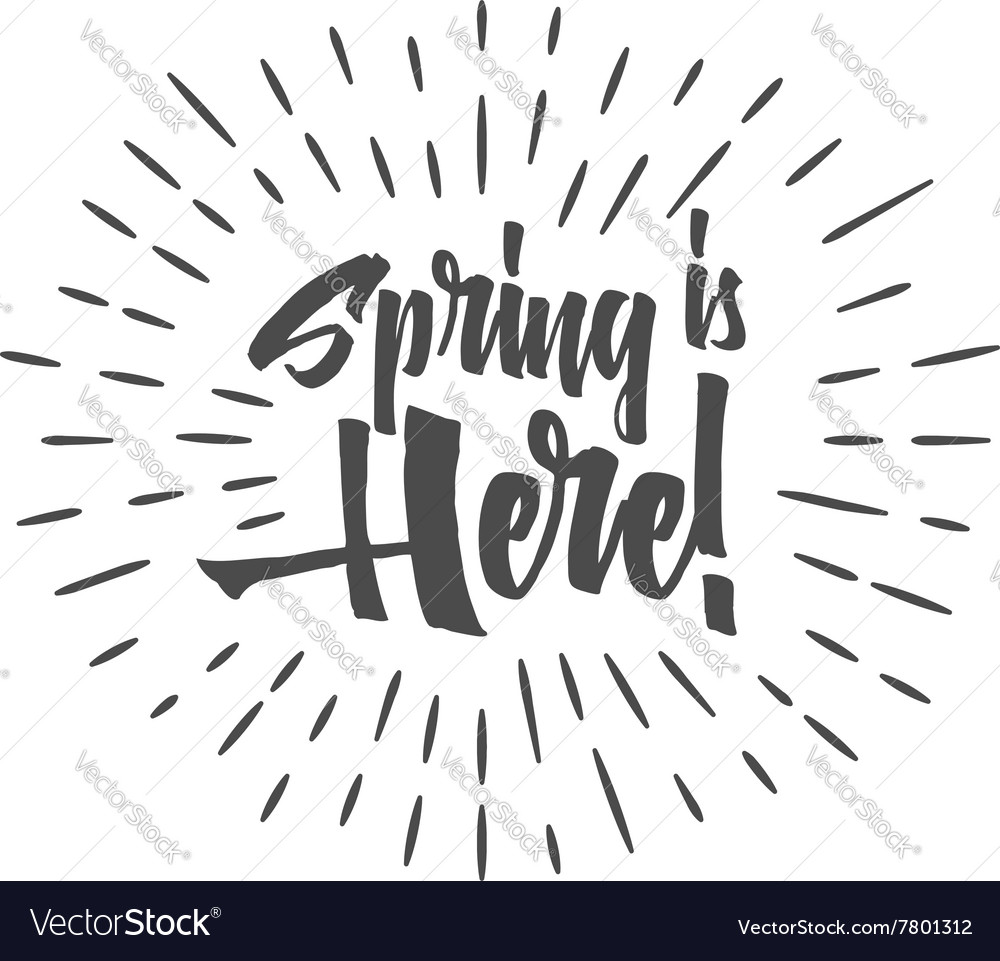Easter sign - Spring is here Easter wish overlay vector image