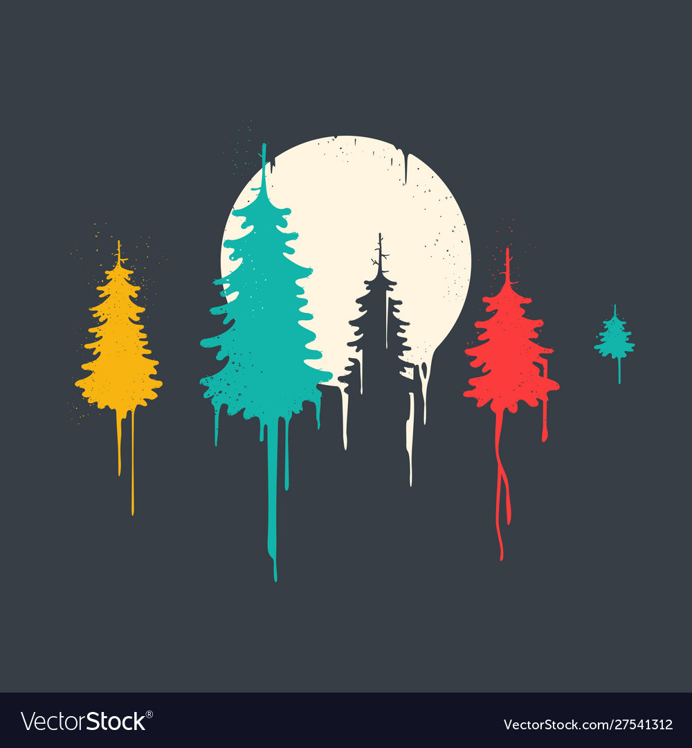 Fir forest painting style