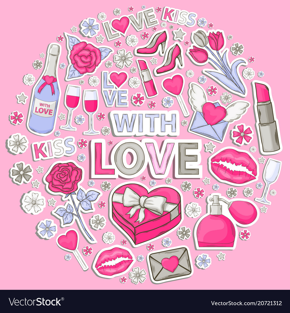 Icon sticker set with love