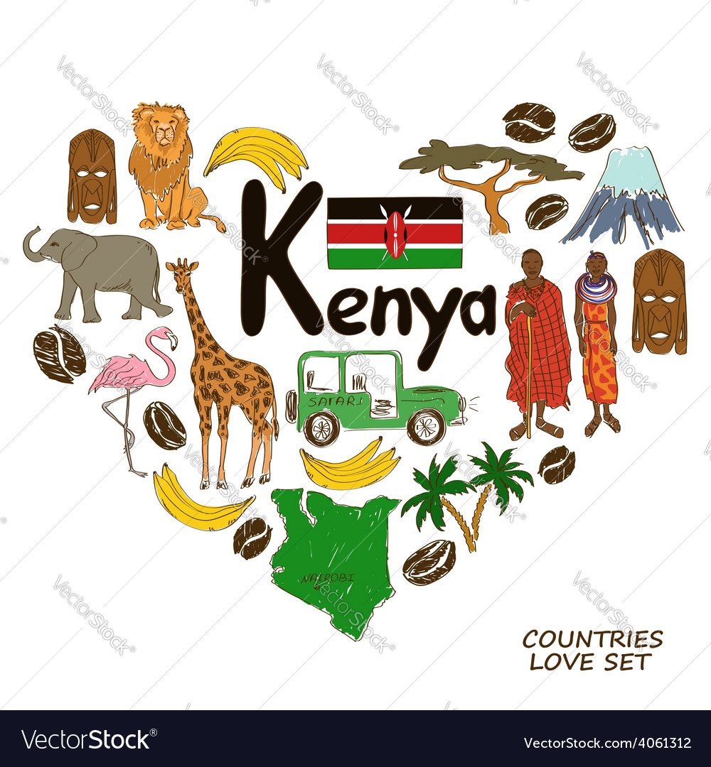Kenyan Symbols In Heart Shape Concept Royalty Free Vector