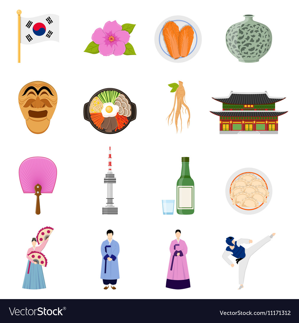 Korean Culture Symbols Flat Icons Collection Vector Image