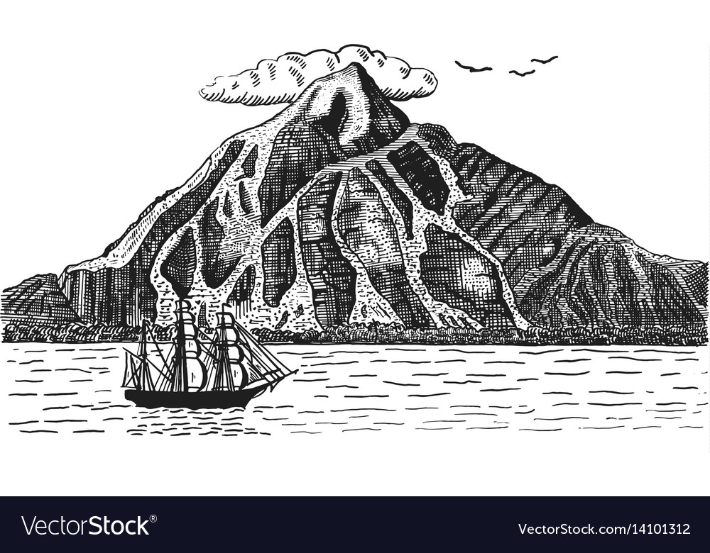 Ocean or sea with ship sails next to volcano or