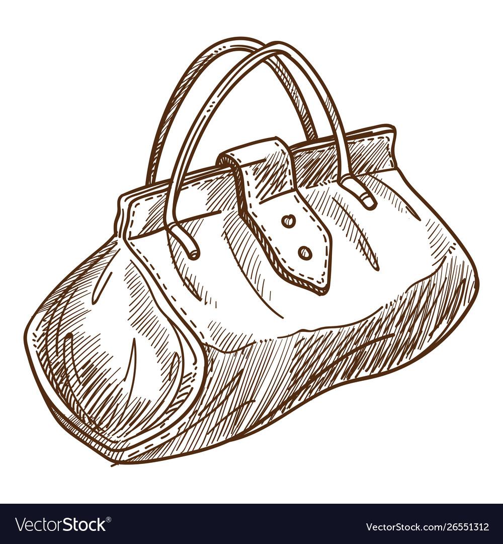 Retro bag or valise isolated object sketch handbag