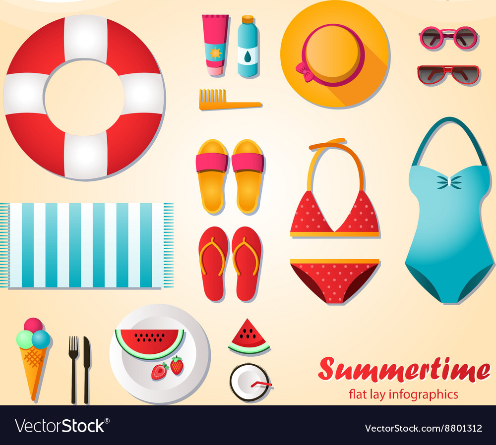 Summertime flat lay infographics