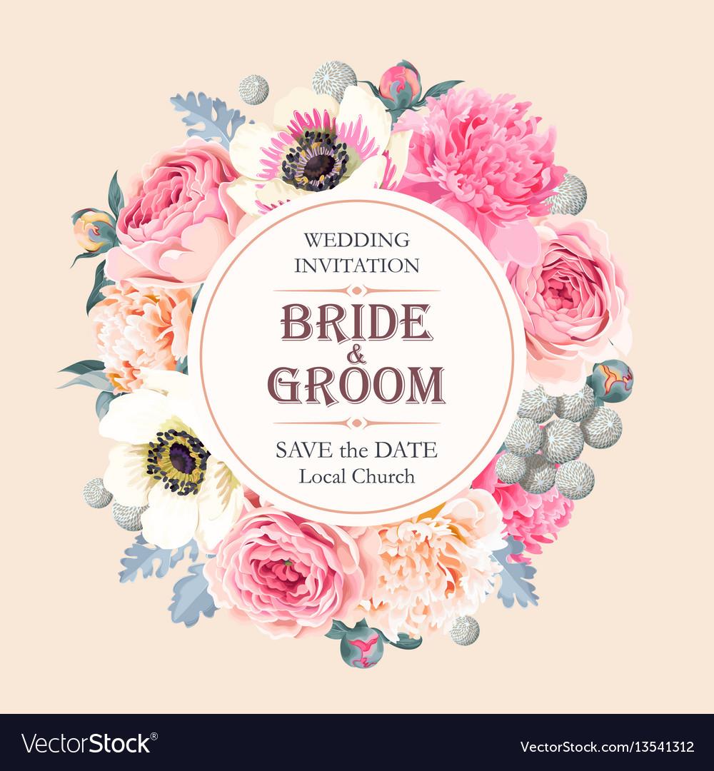 Vintage Wedding Invitation Royalty Free Vector Image