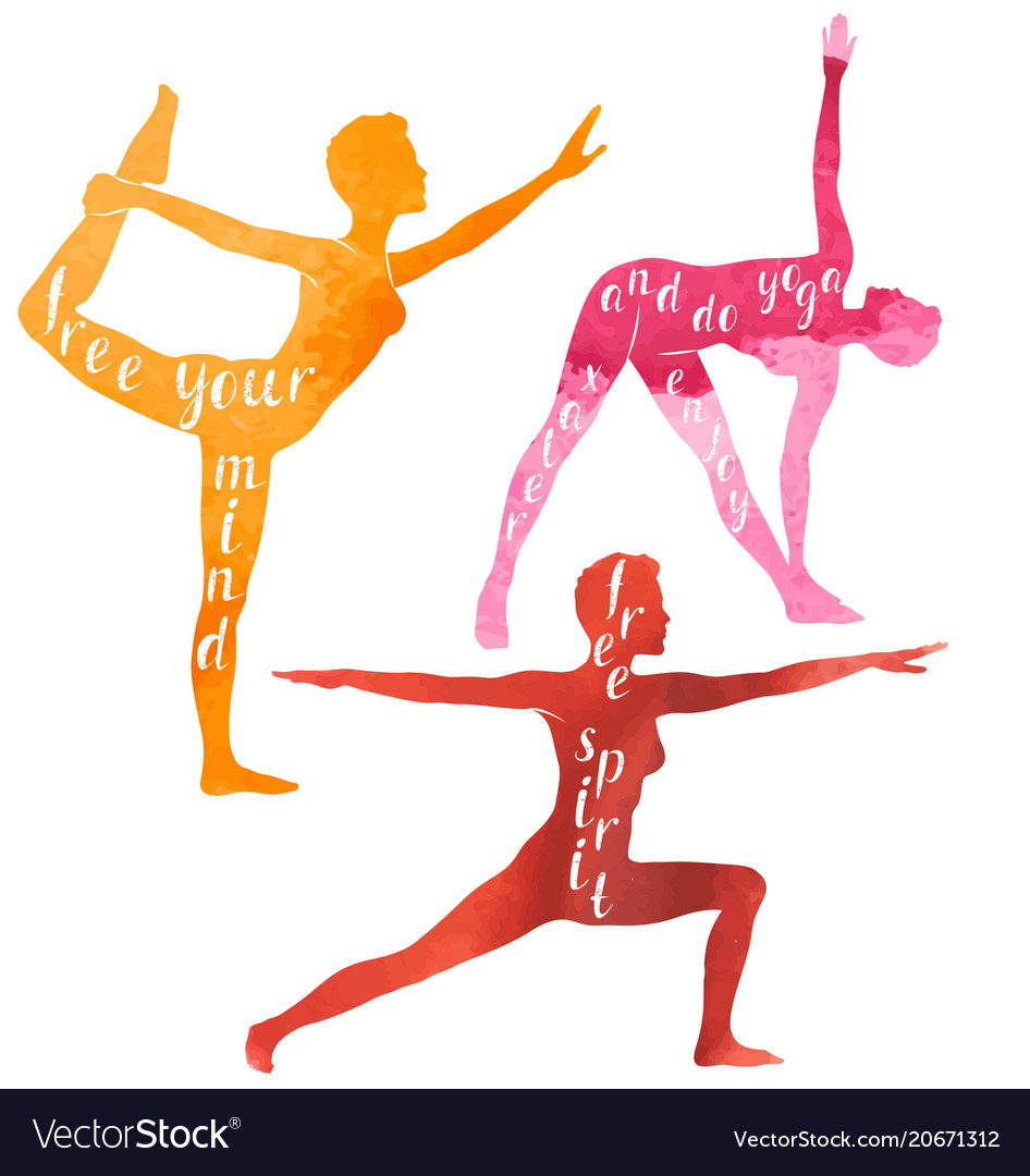 Watercolor silhouettes of woman doing yoga vector image