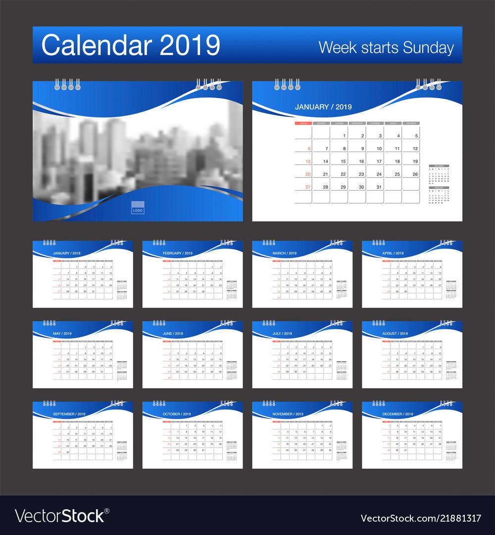 2019 calendar desk calendar modern design