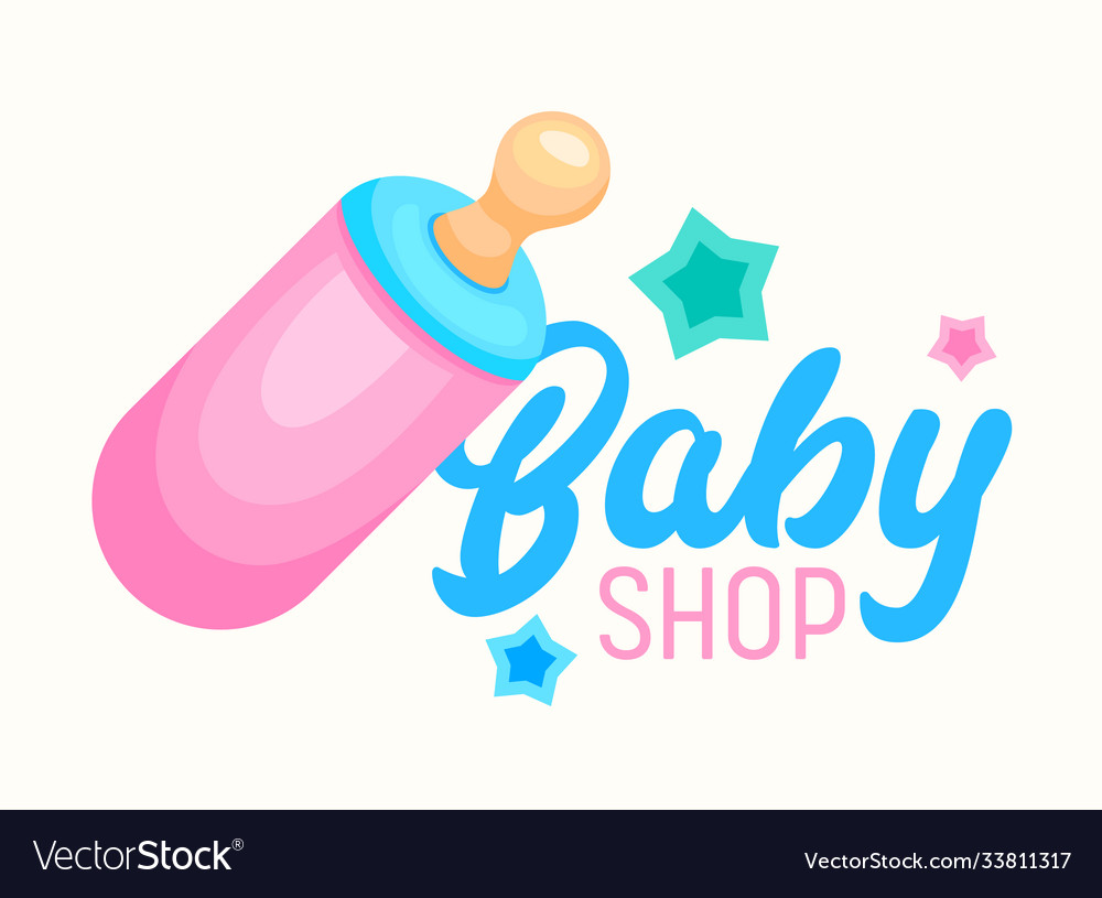 Baby shop banner infant milk bottle with soother