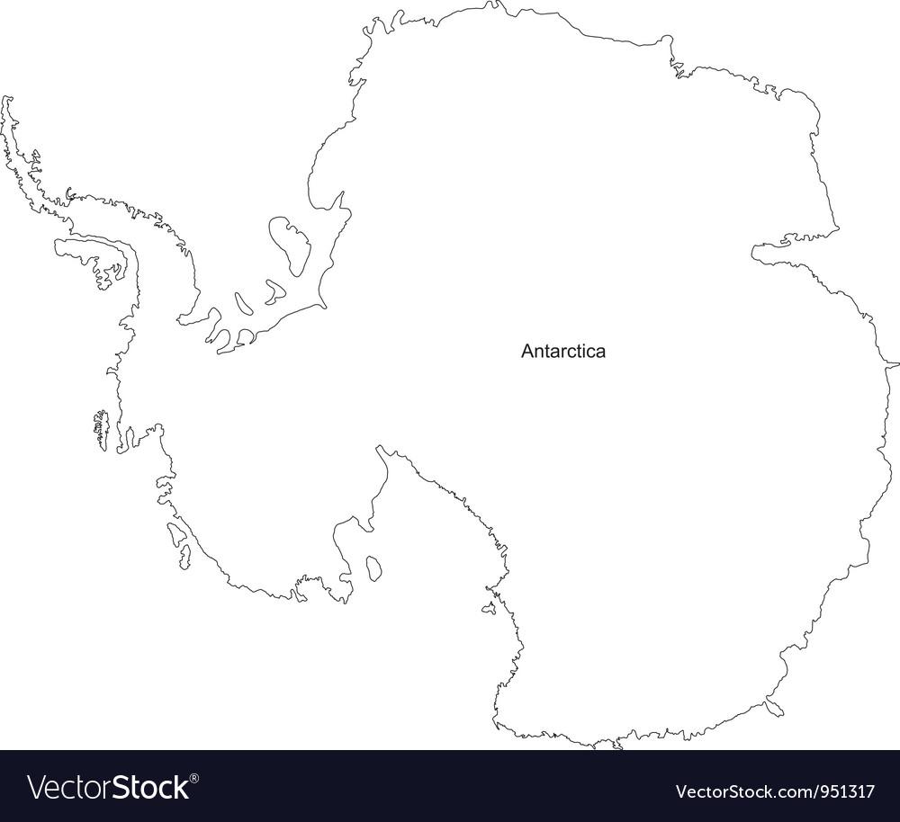 Black White Antarctica Outline Map vector image