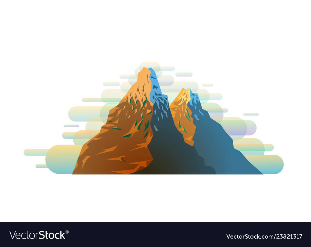 Bright colorful snowy mountain silhouette in