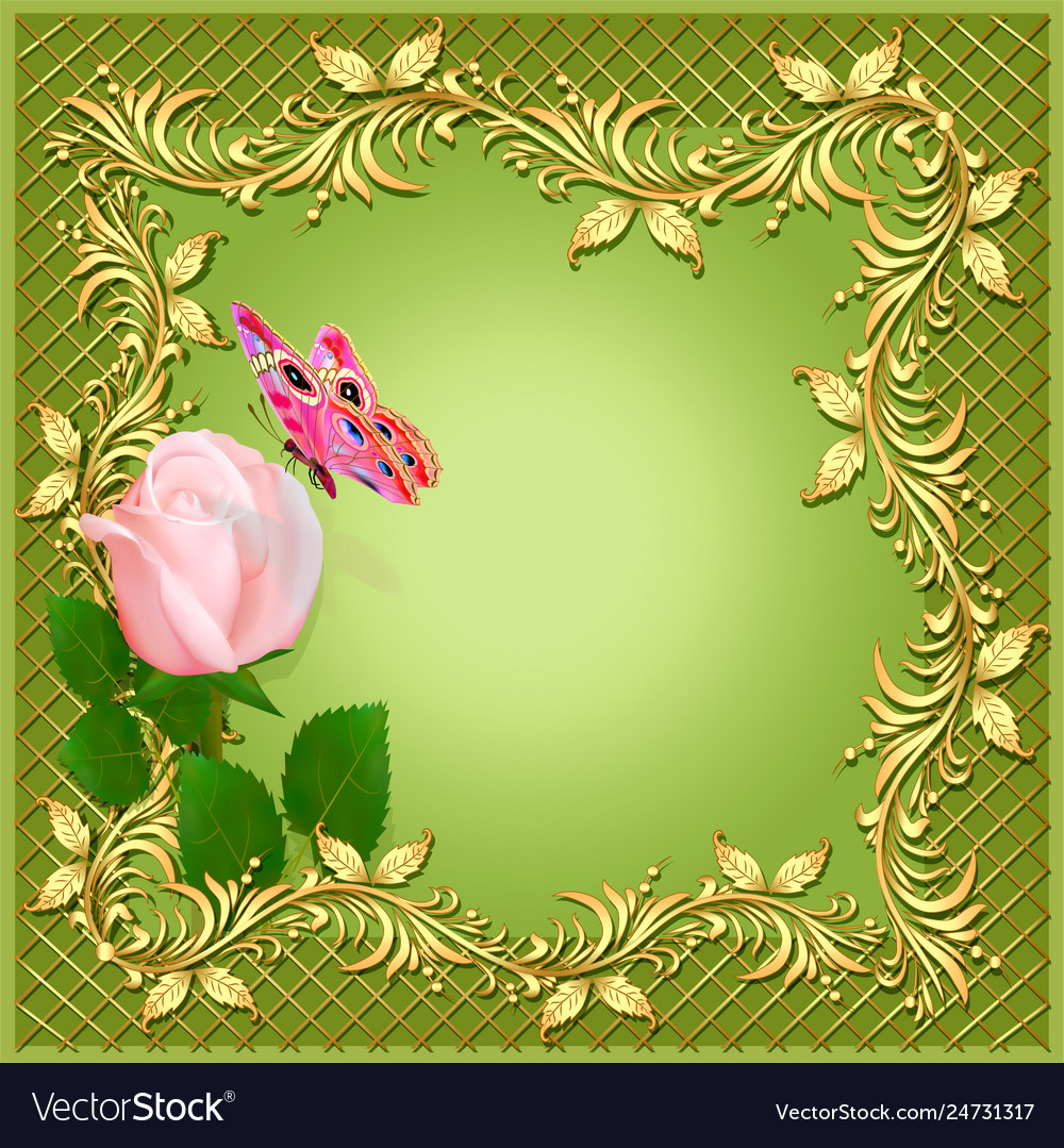 Green background with rose butterfly and ornament