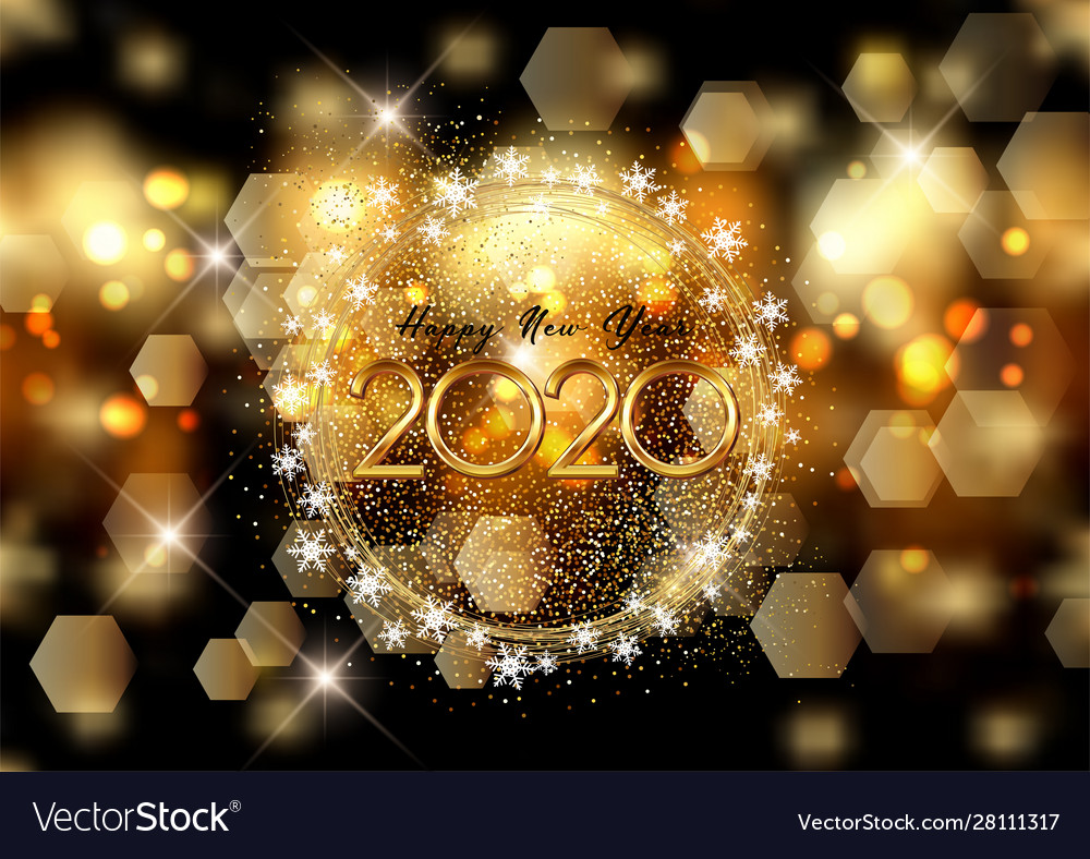Happy new year background with bokeh lights and