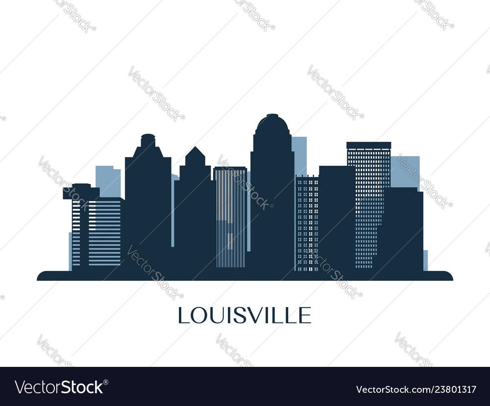 Louisville skyline monochrome silhouette