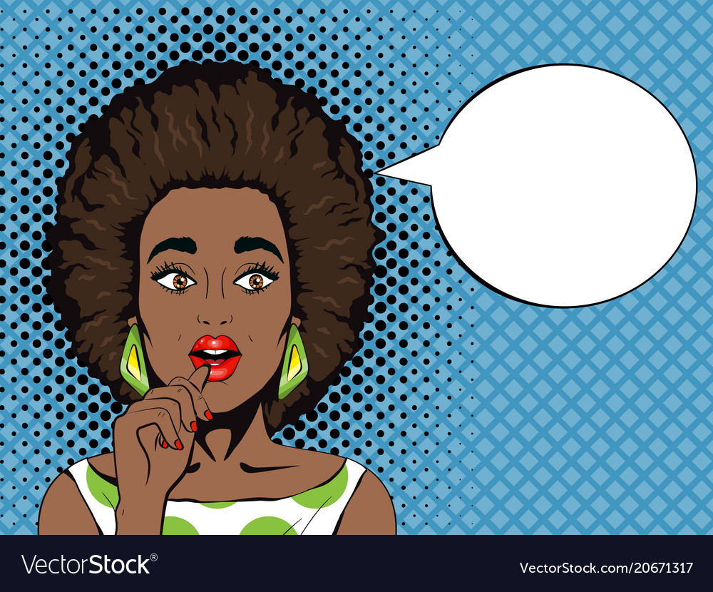 Pop art surprised african woman with open mouth