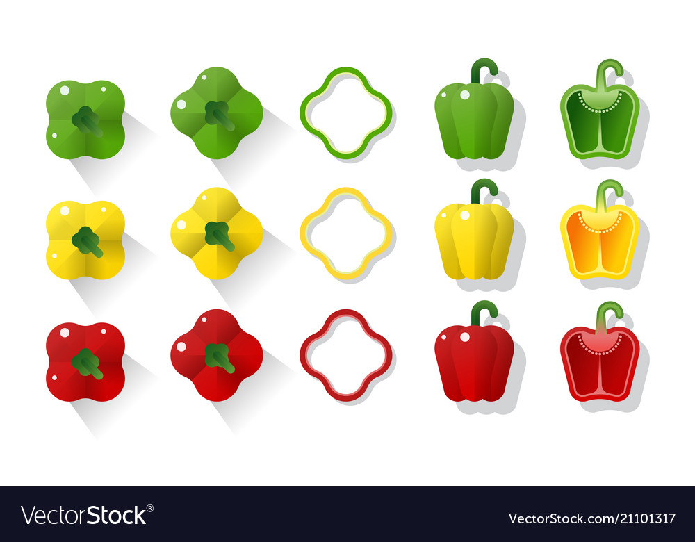 Set of green yellow red peppers vector image