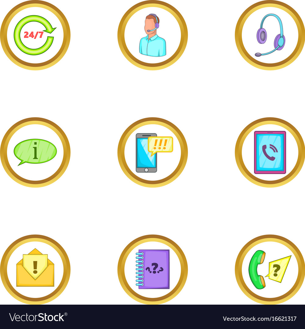 Telephone assistance icons set cartoon style