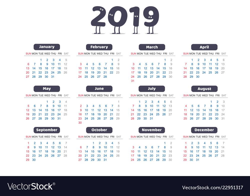 Universal simple calendar of 2019