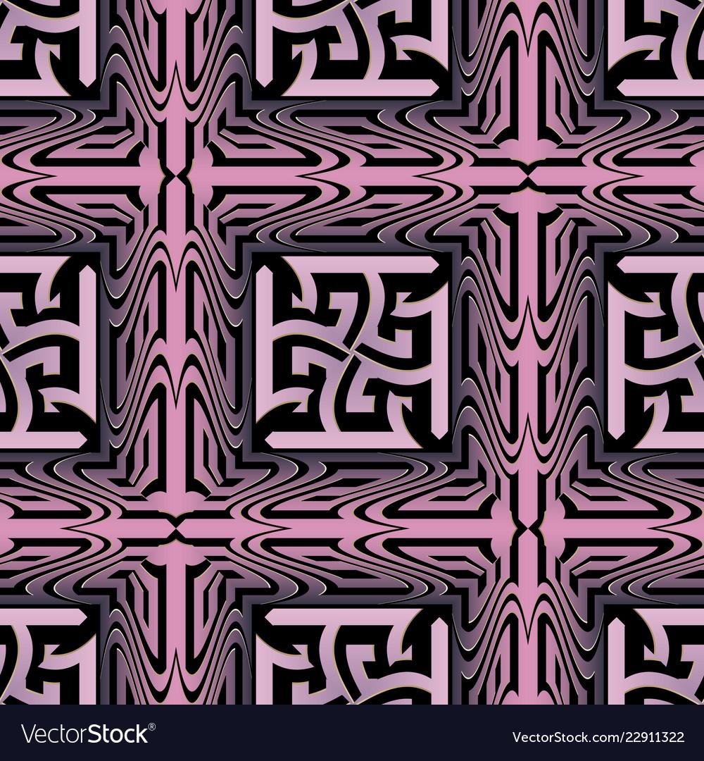 3d checkered vintage greek seamless pattern