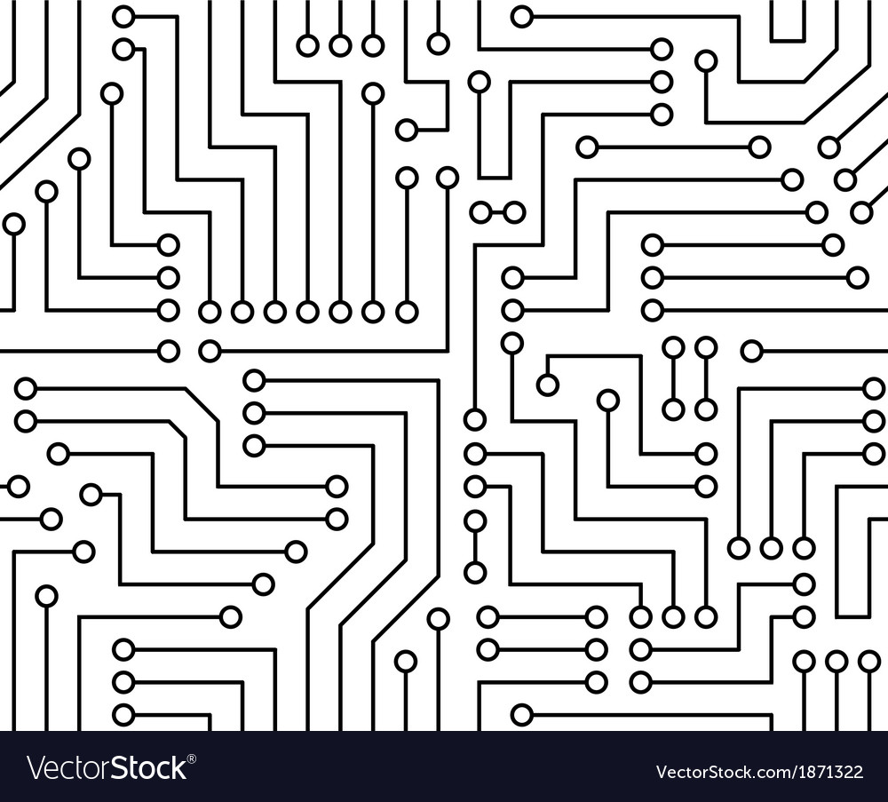 Black and White Printed Circuit Board Royalty Free Vector