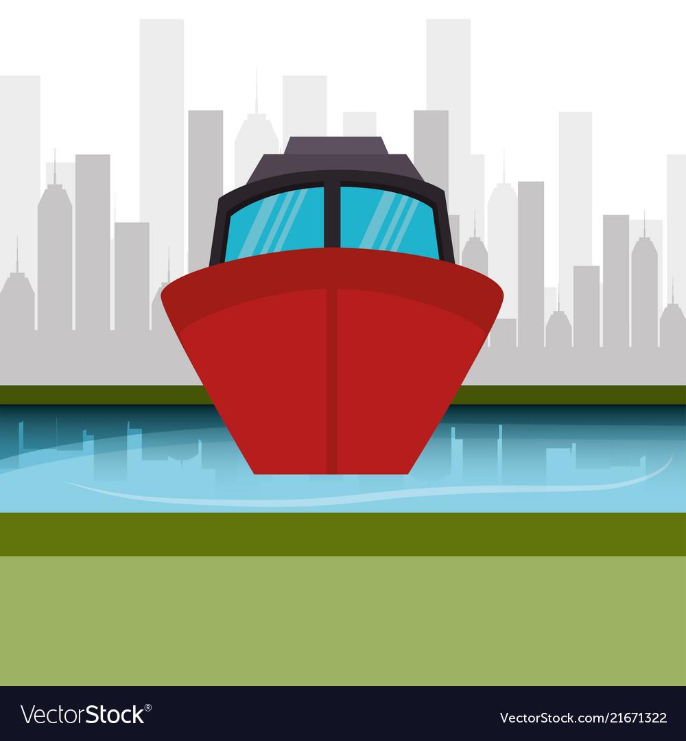 Boat marine cityscape graphic