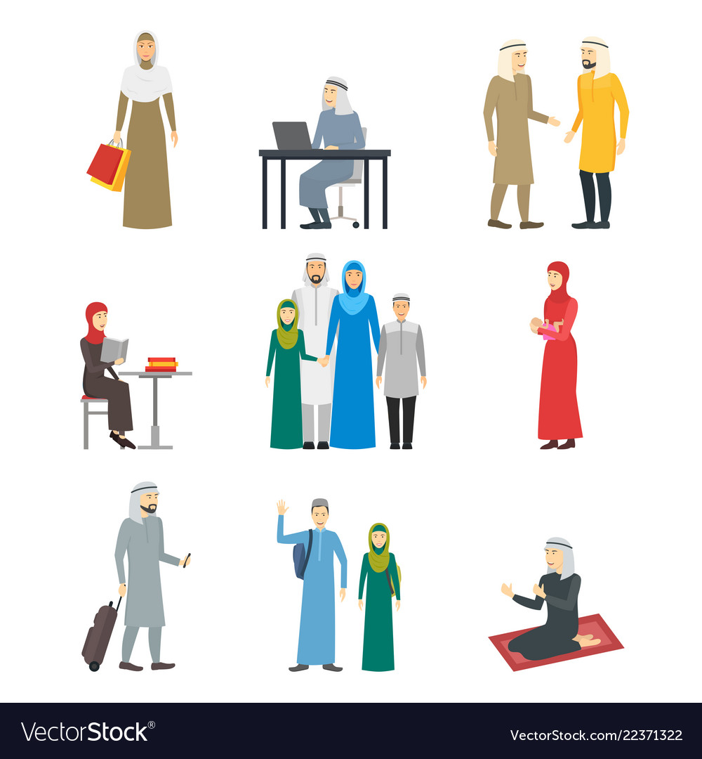 Cartoon characters muslim man and woman people set