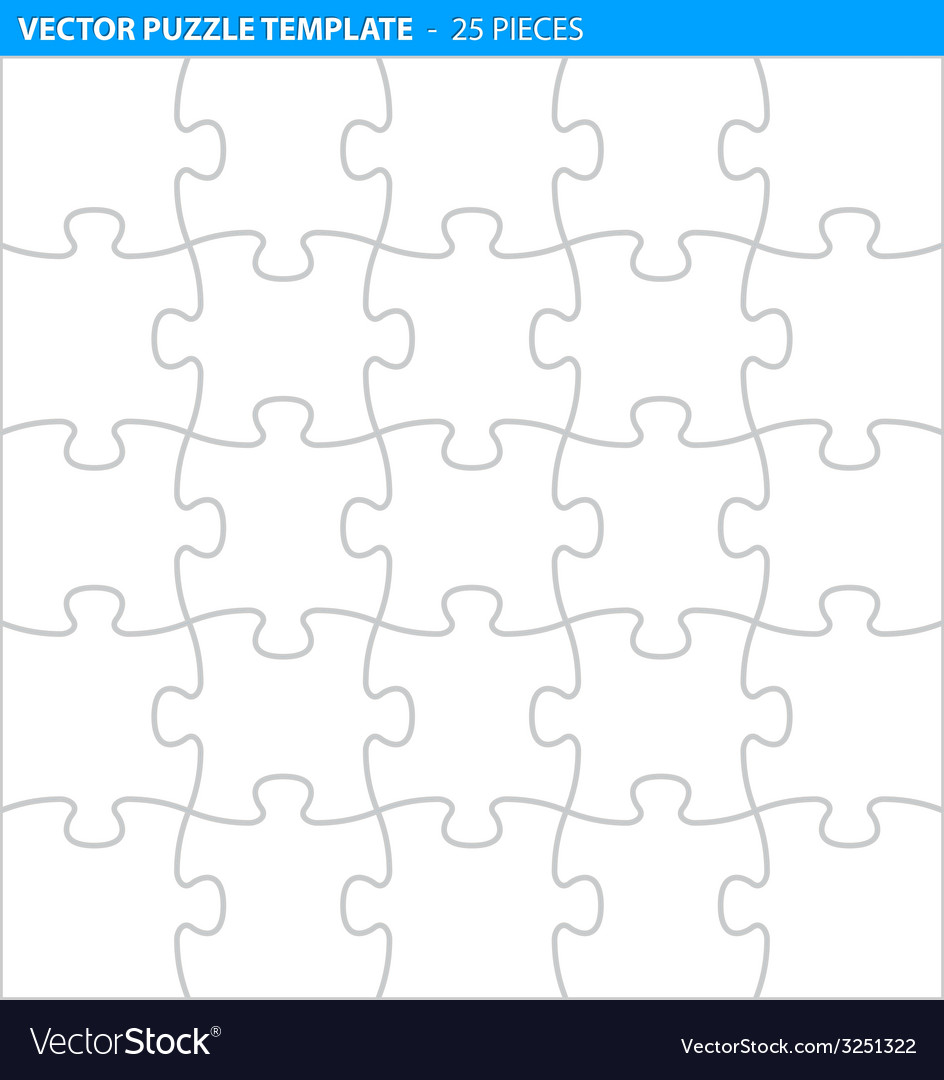 Complete puzzle jigsaw template 25 pieces