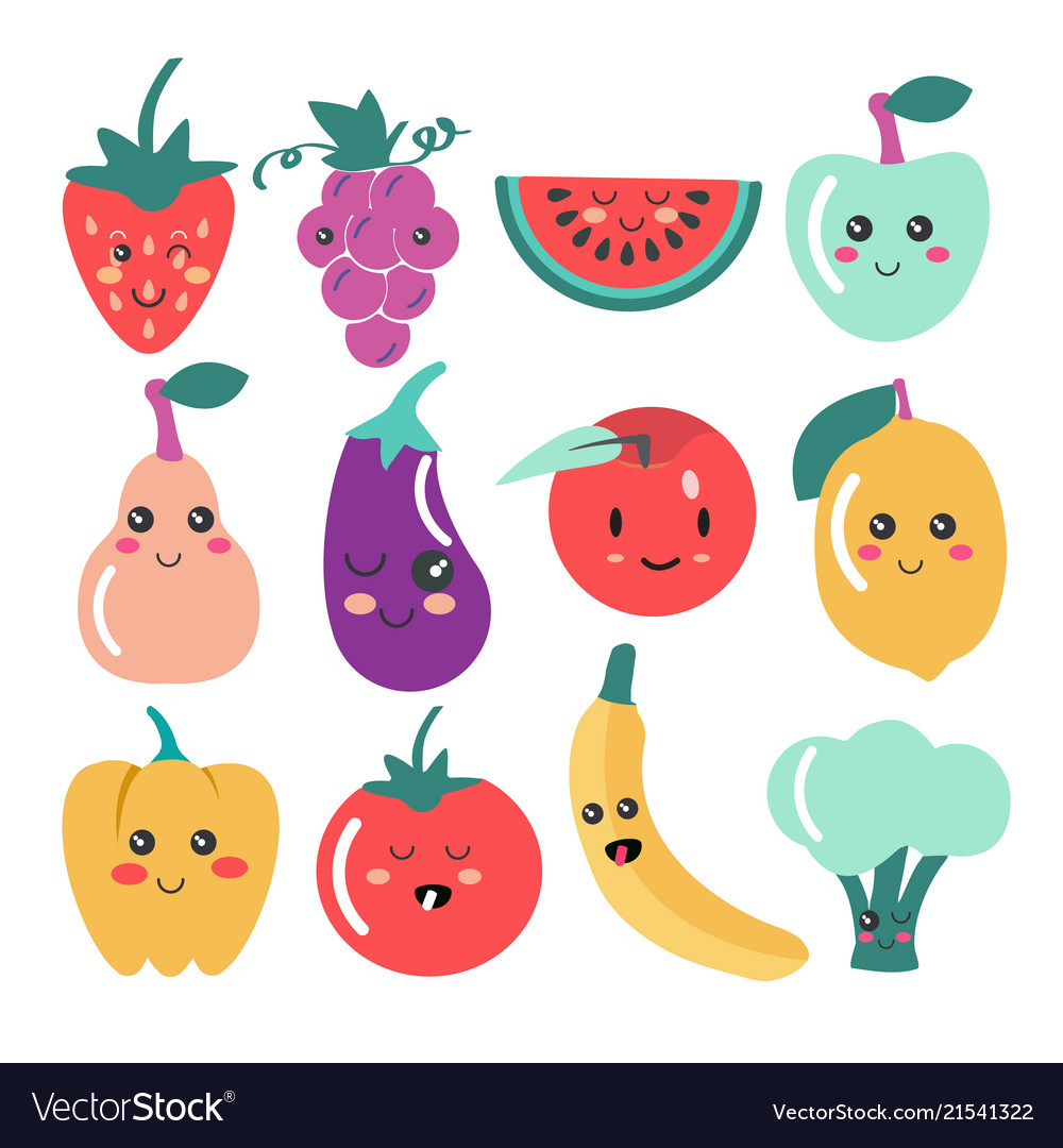 Cute kawaii fruit and vegetable icons